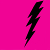black lightning bolt on pink background