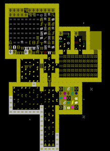 The top layer of the fortress, with several new rooms added: a trade depot, an office, a still and a kitchen.